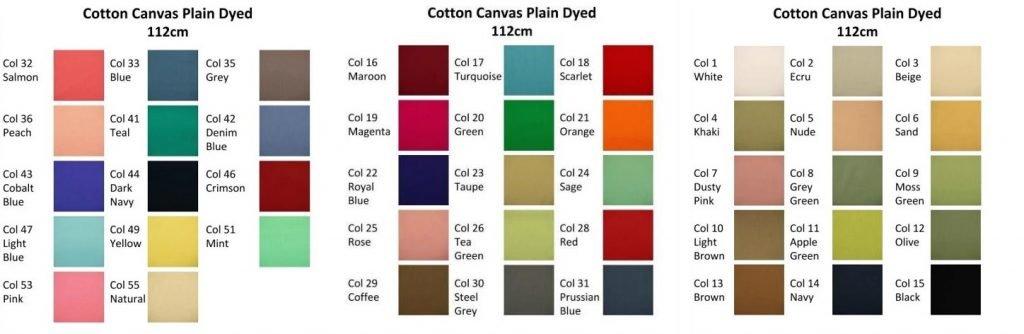 Cotton canvas plain colours